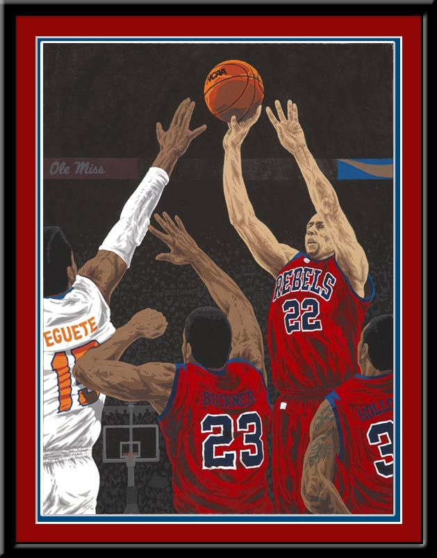 Framed art print of the Ole Miss' 66-63 upset of Florida for the 2013 Southeastern Conference tournament championship.