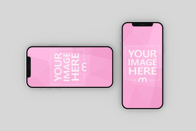 A Double Iphone Mockup Template Featuring A Portrait And Landscape Version Of The New Iphone 12 Iphone Mockup Iphone Mockup Psd Photoshop Mockup Free