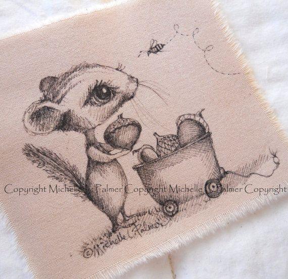 Original Pen Ink on Fabric Illustration Quilt by MichellePalmer September 2016