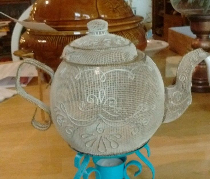 WIRE MESH TEAPOT CANDLE/POTPOURRI HOLDER