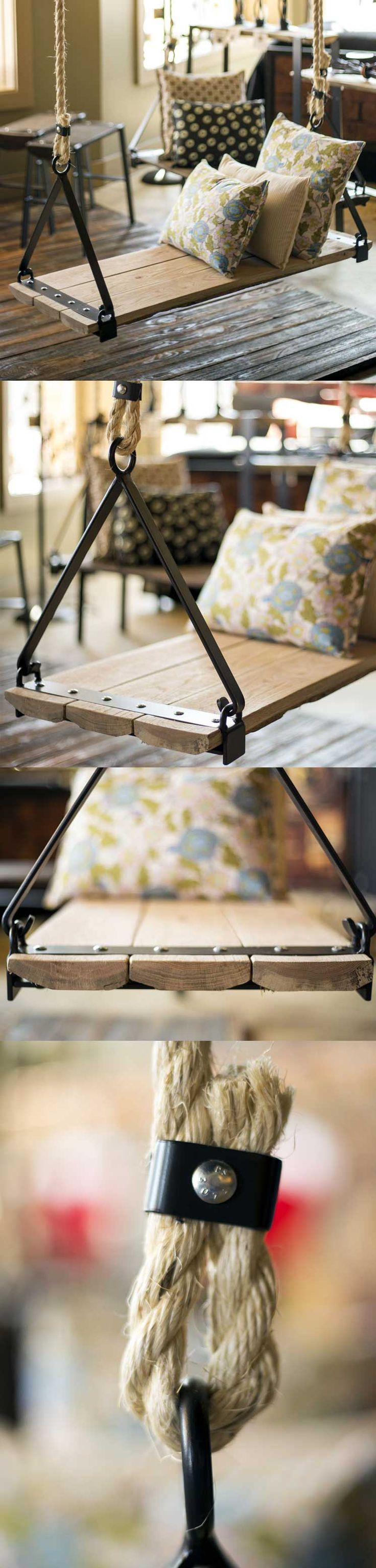 """It's time to swing! While this lovely """"slab"""" swing is great for a porch or garden...it's a great inside swing and comes in several sizes. 8 feet of 3/4"""" hemp rope for each side comes standard with this beautiful swing. Find the Urban Forge Swing as seen in the Outdoor Gliders & Swings http://www.timelesswroughtiron.com/Urban-Forge-42-inch-Iron-Swing-p/twi-sci-980-243-42in.htm"""