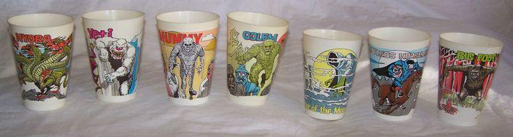 Vintage 1970's Monster 7-11 Slurpee Plastic Cup lot Excellent many RARE Mummy +