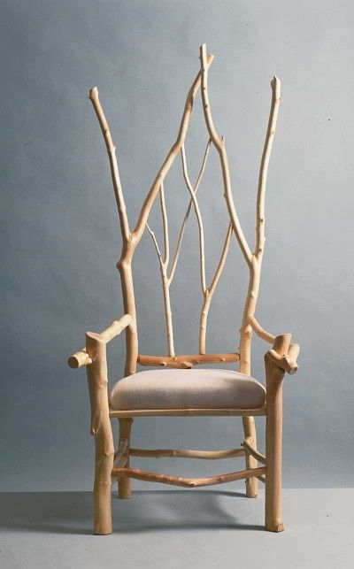 "Source: Daniel Mack Rustic furnishings (peeled maple branch chair in Gothic Revival style) TLC Home ""Cabin Decor Idea: All Aglow"""