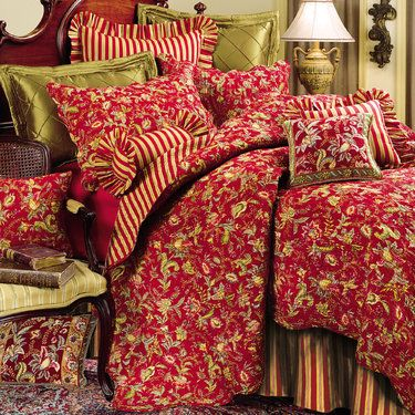Caspienne Floral Leaf Red Quilt Bedding Country Farm
