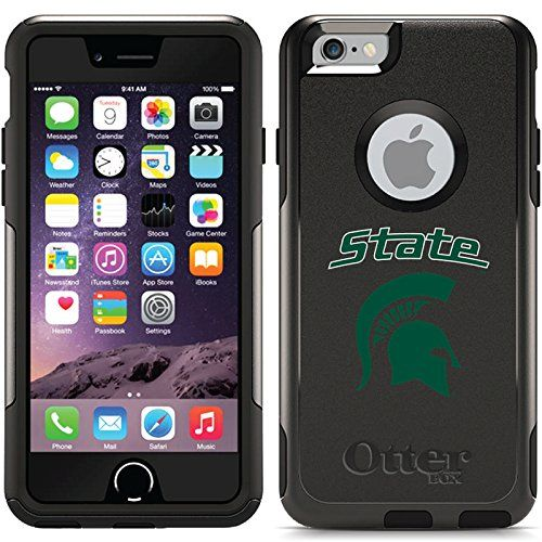 Michigan State - State Mascot design on Black OtterBox Commuter Series Case for iPhone 6 and iPhone 6s. Go Spartans! Support the green and white with this official Michigan State University Coveroo!. Slim and tough case protects from scratches, bumps and shocks. Also includes a self-adhering clear screen protector. Compatible with the iPhone 6 and iPhone 6s on all carriers. Devices Supported: A1549, A1586, A1633, A1688 - You can find the model number printed on the back of the device.