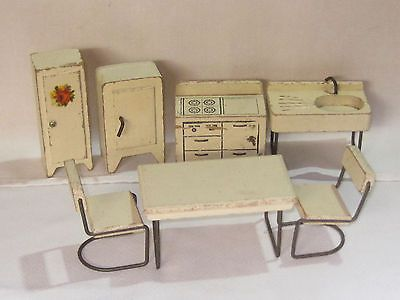 Vintage Antique 1930s Strombecker Wooden Dollhouse Kitchen Set