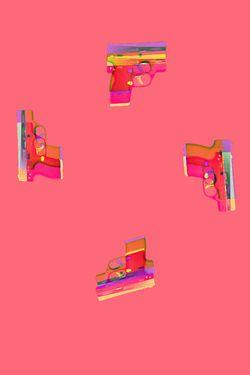 "Saatchi Art Artist Veronica Formos; Printmaking, ""Gun time III (LIMITED edition- 5 pieces)""  #art #newmedia #print #printmaking #tank #pink #contemporaryart #digital #photoshop"