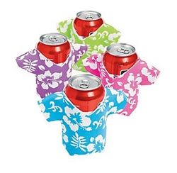 Dress up your cans for your Luau party and keep them cold at the same time with these tropical shirt can insulators #luauparty  #partycheap