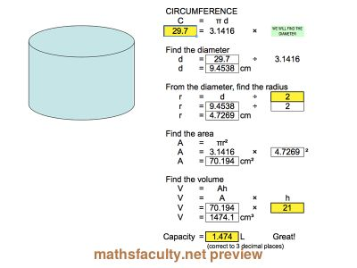 how to work out volume of half a cylinder