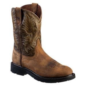 Ariat Sahara Pull-On Roper Toe Work Boots for Men - Brown/Army Green - 11.5 M