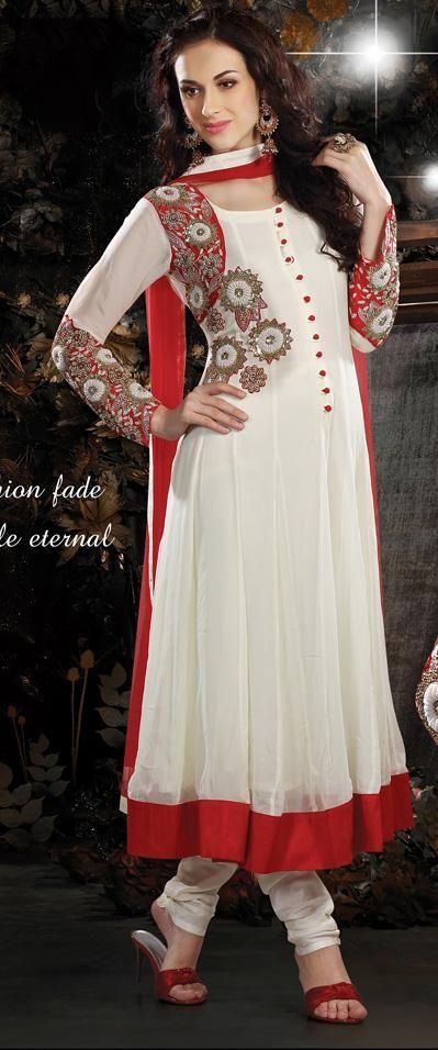 White Faux Georgette Resham and Stone Work Anarkali Salwar Suit