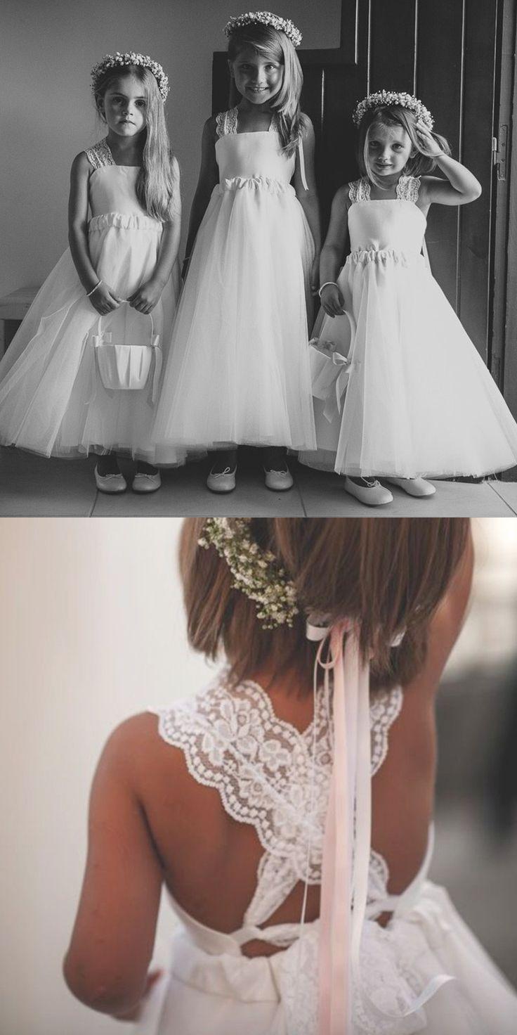 A-Line Dress,Square Criss-Cross Straps Dress,White Dress,Tulle Flower Girl Dress,Flower Girl Dress Lace,Cute Flower Girl Dress,Beach Flower Girl Dress,Boho Flower Girl Dress