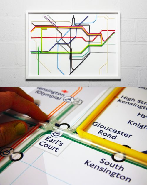 London Underground map by Kyle BEAN made from drinking straws. Photos: Jean-luc Brouard