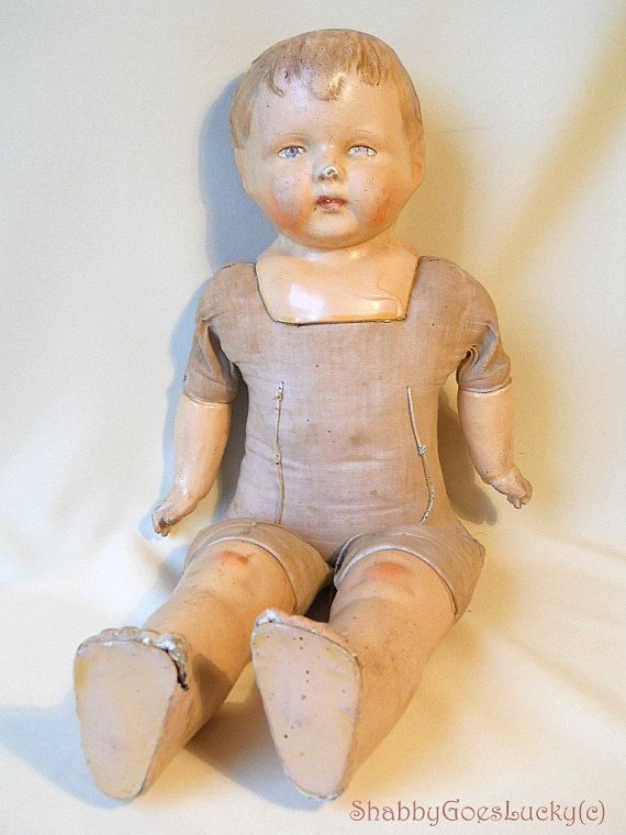 Antique 1924 German composition cloth doll Sico Sicora by Eduard Schmidt Coburg, marked, large 20 inch walking vintage doll, shabby old doll