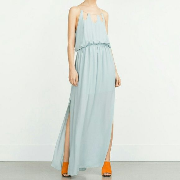One day sale! Zara dress (firm) Gorgeous!! Chain neck line.  Reduced from $69   No offers please.  Price reduced for today only and is FIRM!!! Zara Dresses Maxi