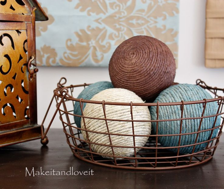 House decor.: Yarn Ball, Ball Accents, Styrofoam Balls, Crafty, Hemp Ball, Craft Ideas, Diy Projects, Crafts