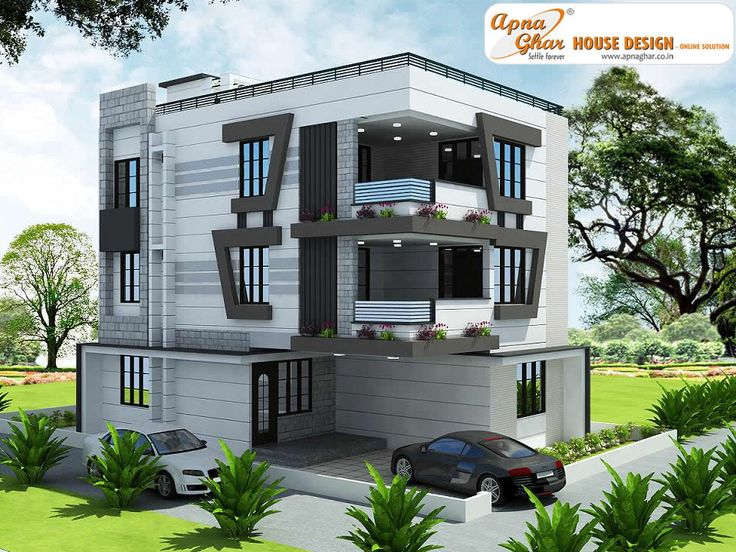 5 bedroom modern triplex 3 floor house design area for House elevation for three floors building