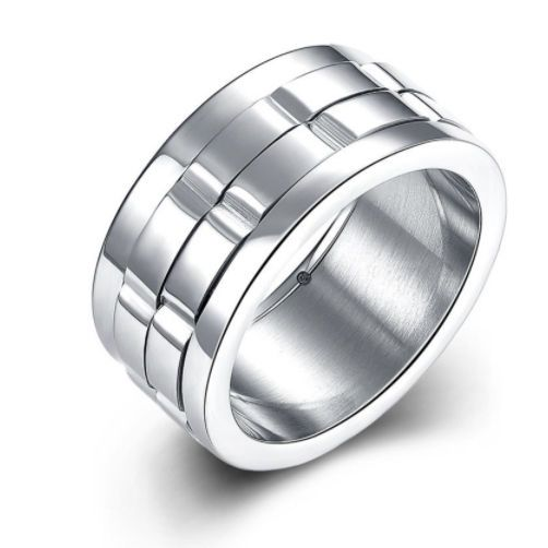 Unisex Silver Brick Bevelled 10mm Stainless Steel Ring. Base Metal: Stainless Steel. Surface Width: 10mm. Metal Colour: Silver. Our top rated status shows we strive to consistently exceed your expectations. | eBay!