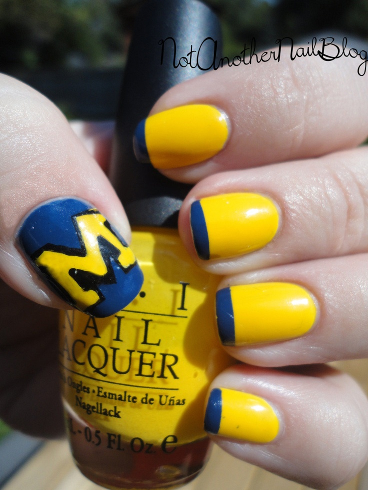 University of Michigan Nails. Maybe I'd do the block M on my ring finger...