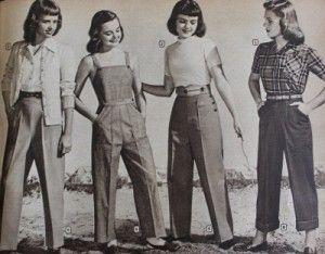 1940s teens pants, overalls, denim jeans. 1948 Teen Pants: Slacks, Overalls, Denim Jeans