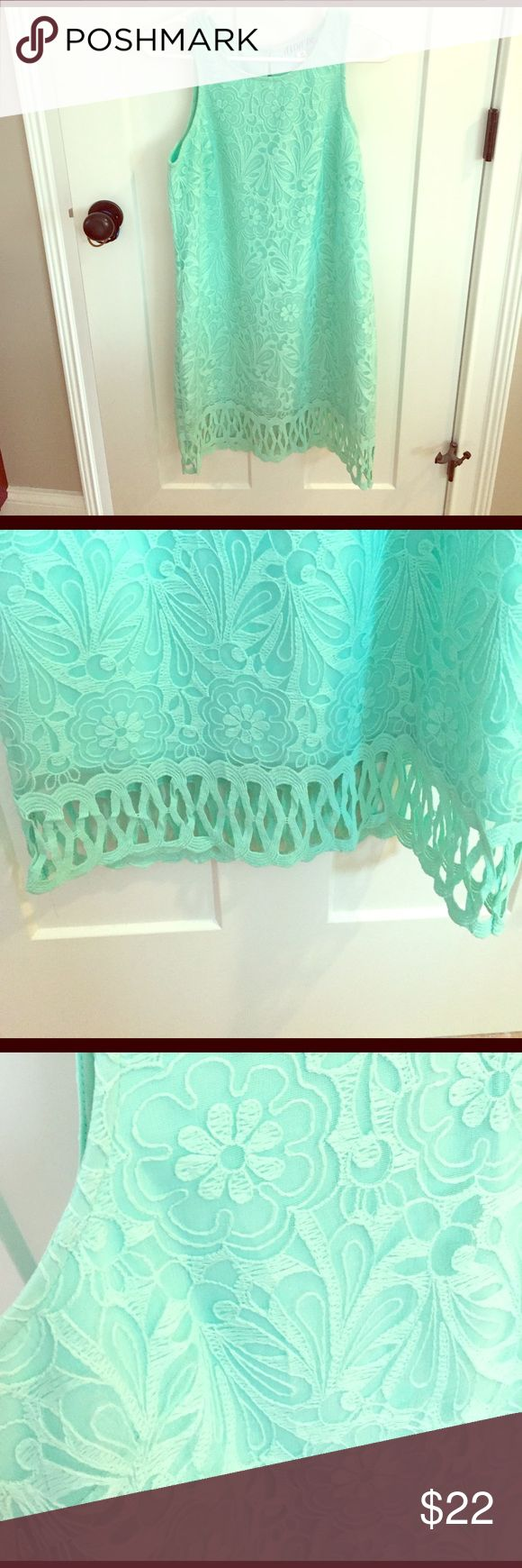Turquoise Lace Dress Super cute lace dress from Francesca's! Brand is Anna Be. Only worn once for a baby shower! Francesca's Collections Dresses