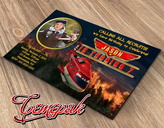 Planes Fire and Rescue Birthday Invitation by Cemepak on Etsy