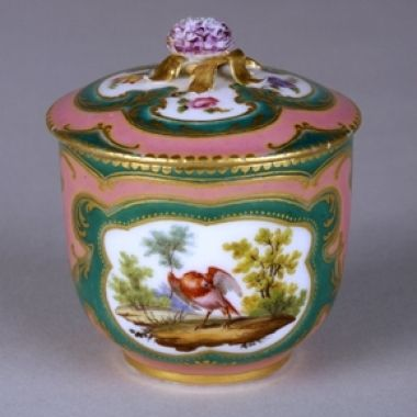 A Sèvres Porcelain Sugar Bowl and Cover, circa 1760  This small pot à sucre is sumptuously decorated with pink and green ground colours.