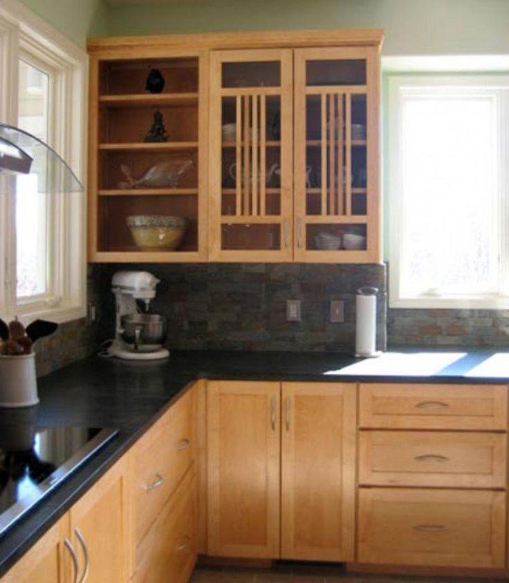 55 Inspiring Black Quartz Kitchen Countertops Ideas ... on Maple Cabinets Black Countertops  id=20395