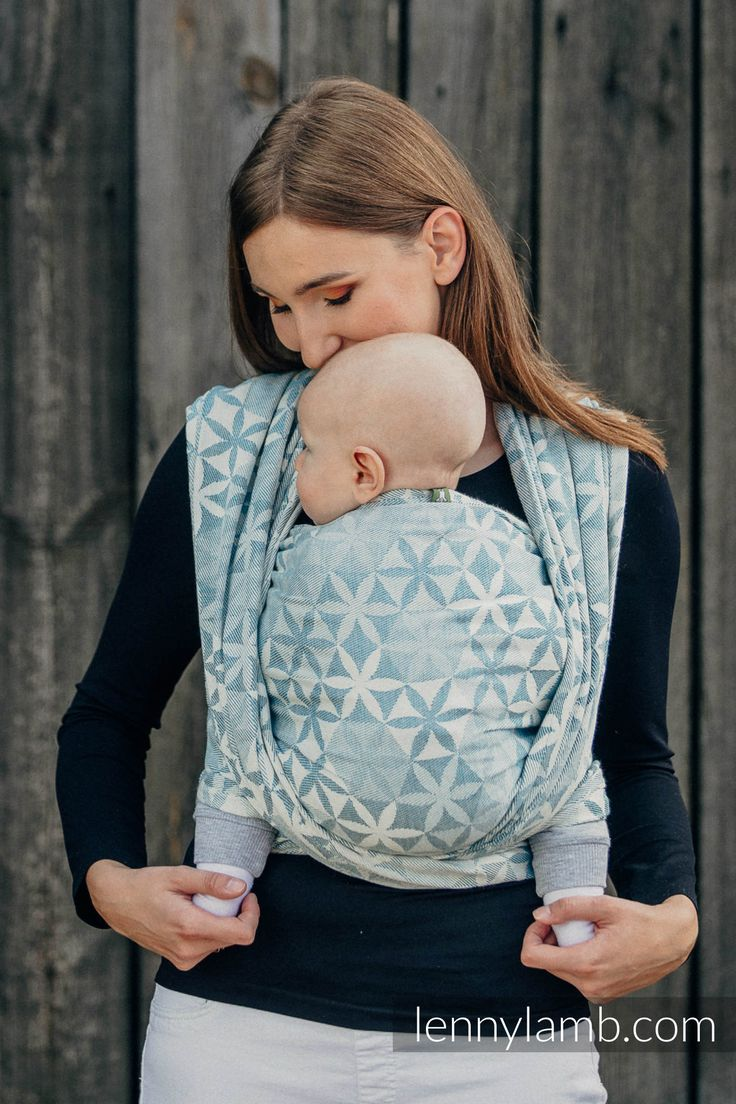 BABY WRAP, JACQUARD WEAVE (60% COTTON, 28% WOOL, 8% SILK, 4% CASHMERE) - HEXA FLOWERS BLUE