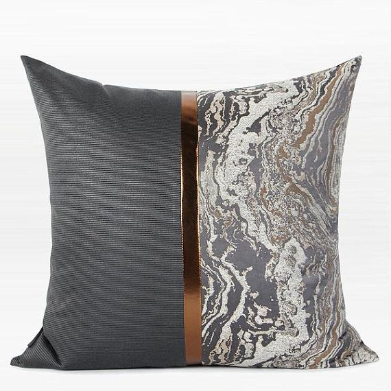 Decorative Pillow Throw Pillow Cover Dark Gray And Gray Marble Two