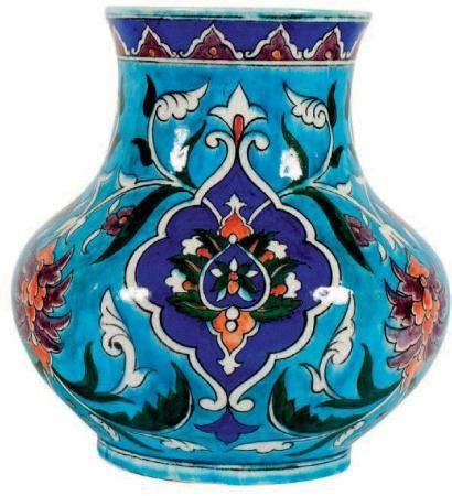 "Théodore Deck (1823-1891) Beautiful Iznik-inspired vase. ""Bleu Deck"" glaze. Signed. #Theodore_Deck #Deck #pottery #glaze #bleu_Deck #turquoise #art_pottery #France #Iznik"