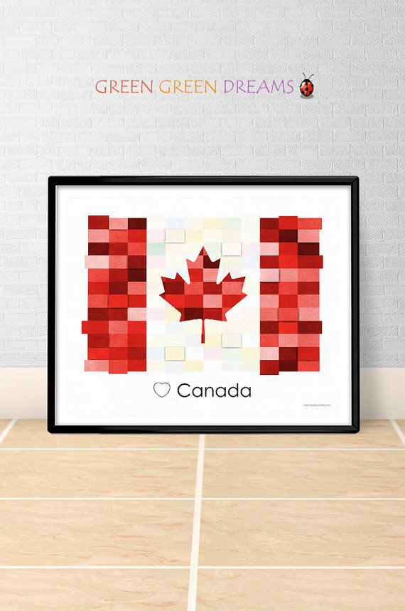 Canada Flag Print Poster Wall art Canada CDN States Flags Maple Leaf Unifolié printable download Home Decor Digital Print GreenGreenDreams