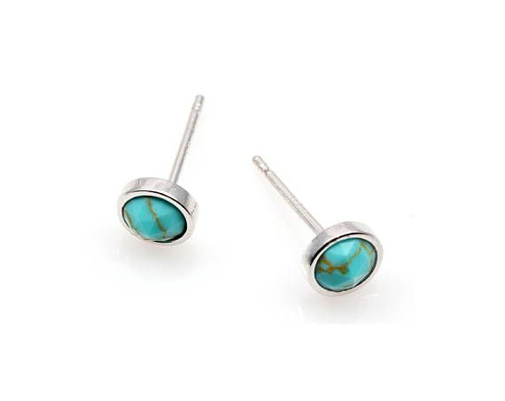2pcs   High Polished Rhodium Plated with Turquoise Round 5mm
