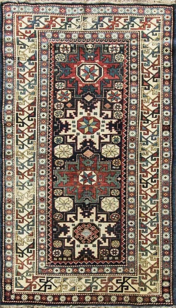 """3'3"""" x 5'8""""Stunning Antique Caucasian Lesghi Star Rug,Excellent Condition #15045 #Caucasion #Geometric"""