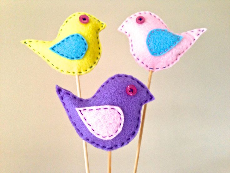 Hand sewn felt birds.    Follow us on Facebook www.facebook.com/ck.kreations