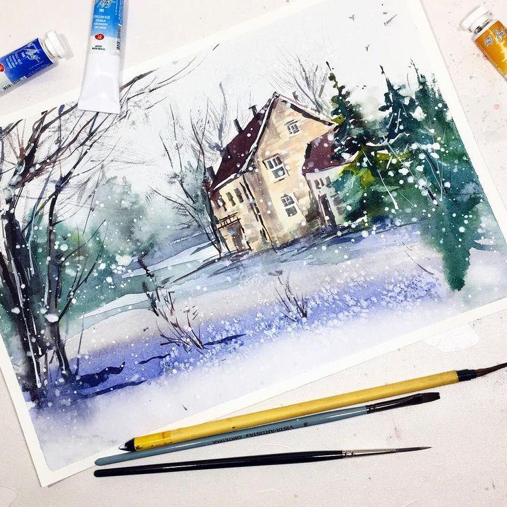 Картинки времени, как сделать снег на картинки из акварельных карандашей