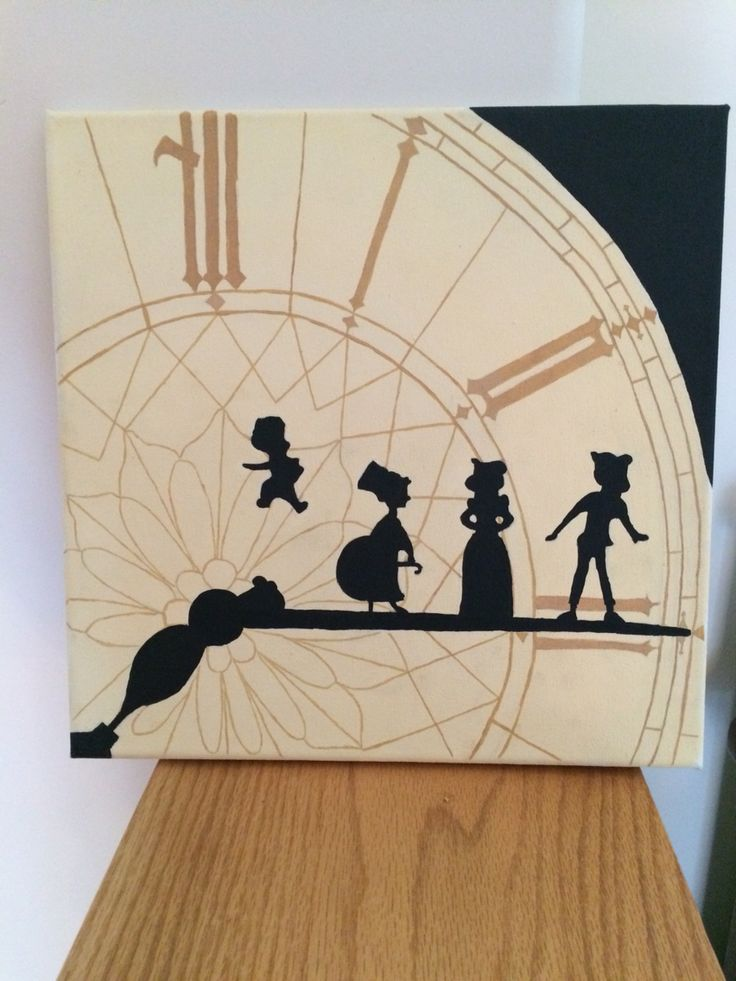 Finally finished my canvas painting! *Peter Pan clock tower silhouette*