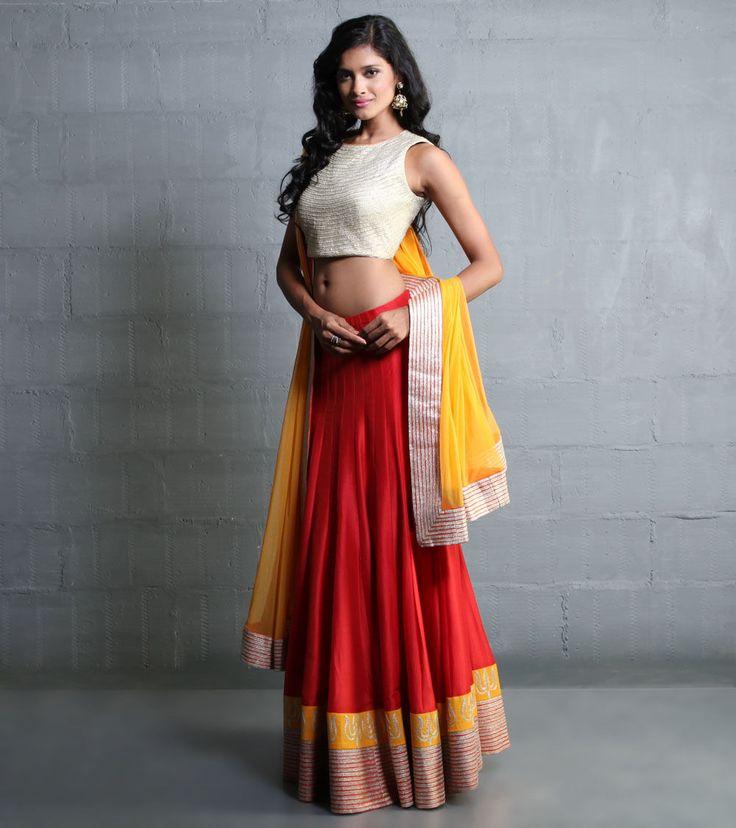 Red Lehenga Set With Aari Work