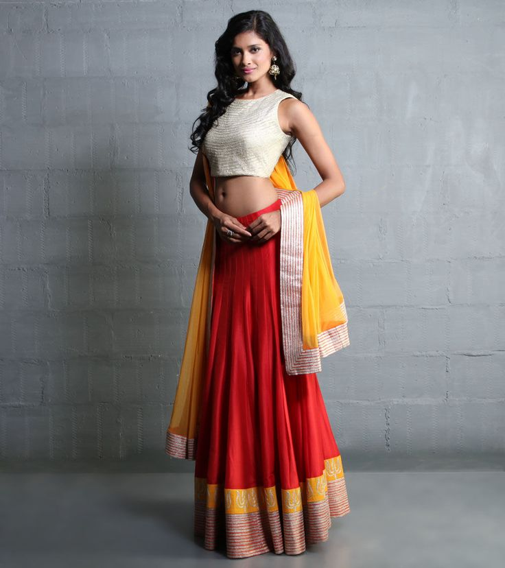 Red Lehenga Set With Aari Work