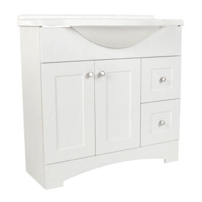 Glacier Bay Del Mar 36 In W Vanity With Ab Engineered Composite Vanity Top In White Mars Del
