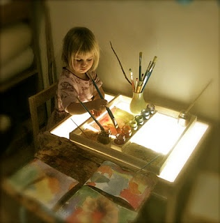 watercolor painting on light table