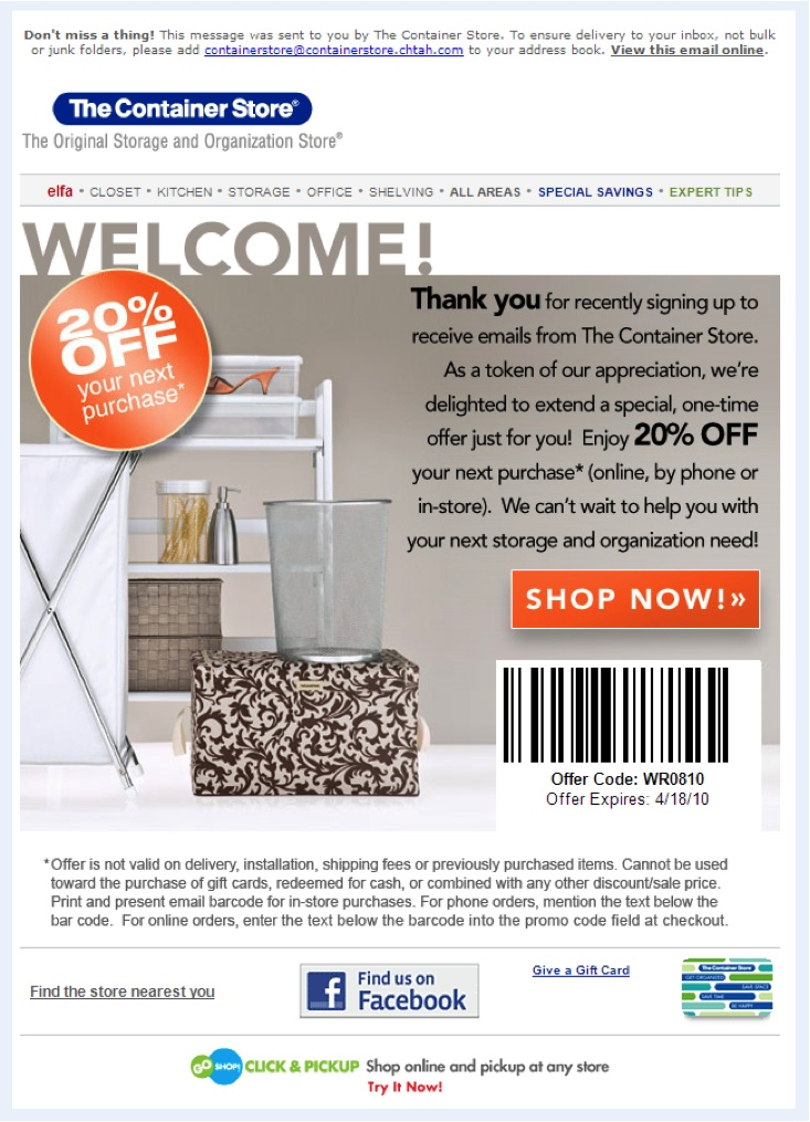 SAMPLE CONTAINER STORE COUPON CODE