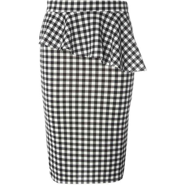 Dorothy Perkins Black Gingham Pep Hem Pencil Skirt (£34) ❤ liked on Polyvore featuring skirts, black, gingham skirt, pencil skirts, dorothy perkins and knee length pencil skirt