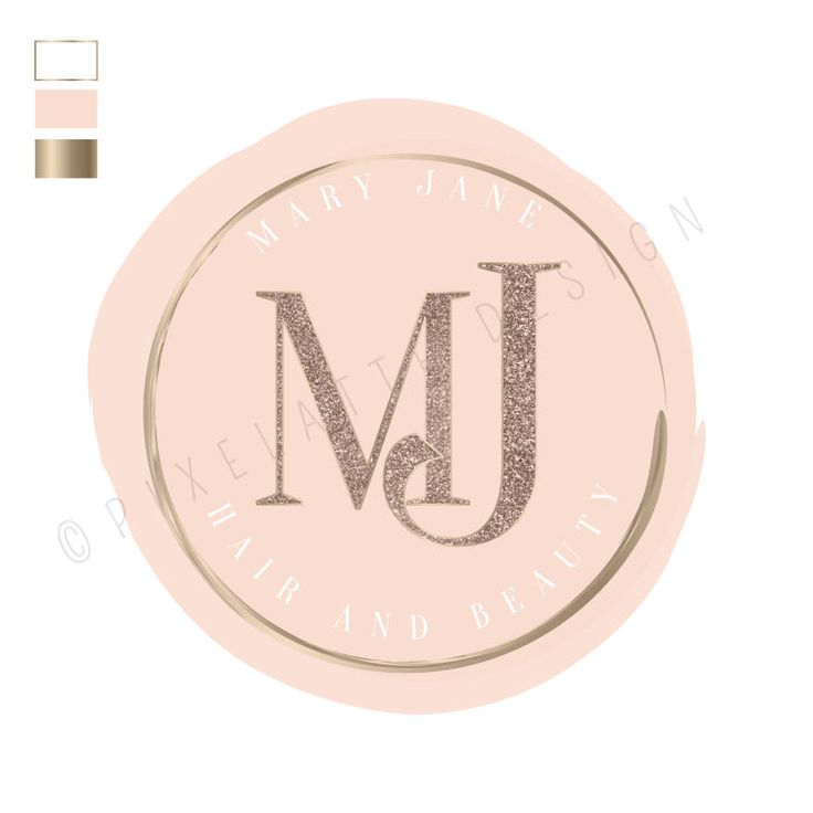 Rose Gold Design suitable for Logo, Labels, Beauty, Bridal with Glitter Metallic Initials and white text surround by PixelatteUK on Etsy