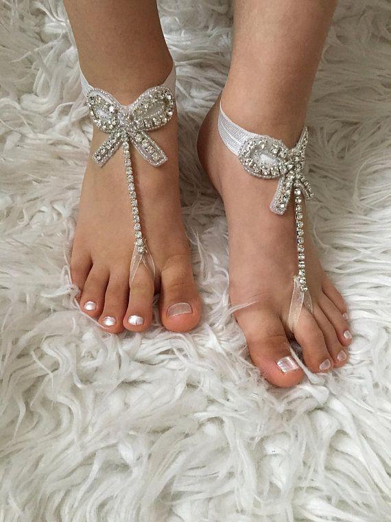 d06b0c3bab75f3 Flower Girl Barefoot Sandals Rhinestone sandals Kids Shoes