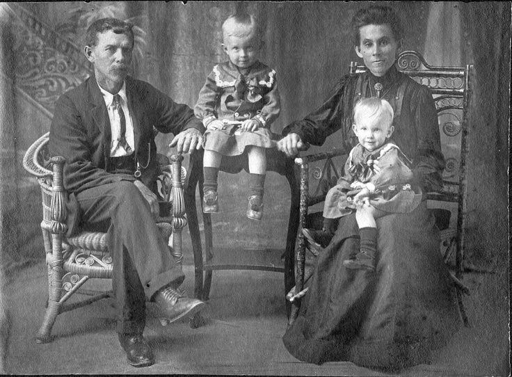 """Ca. 1912 Herbert """"Jack"""" and Edith COLMAN, with sons Herbert and Alfred, at Cooktown."""
