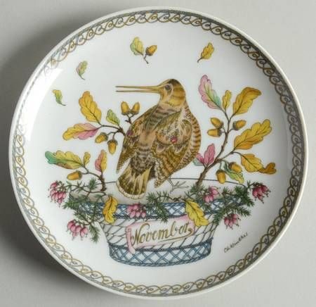 """Hutschenreuther Plates of the Month - Bb Size - """"November:"""" Woodcock - Artist: Ole Winther"""
