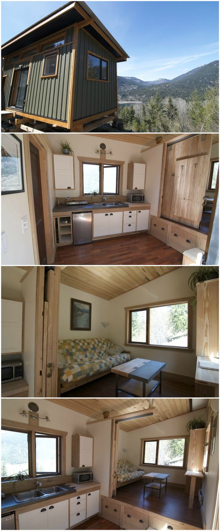 """The V House is a gorgeous tiny house built by Nelson Tiny Houses. The builder is based in Nelson, British Columbia.  V Homes — the """"V is for Versatility"""" — can range from 108 to 250 sq.ft. and start at $35,000 for a 120 sq.ft. model (8′ x 15′). The Nelson Team can furnish it completely with custom-built furniture or keep it bare-bones. You can also add rooms, multiple lofts or extra kitchen space depending on the footprint you choose."""