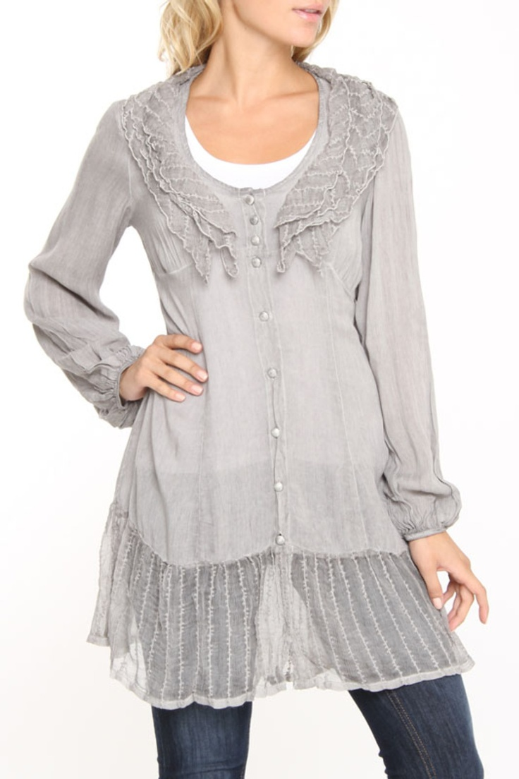 Saga :: Gray feminine tunic :: cotton & silk