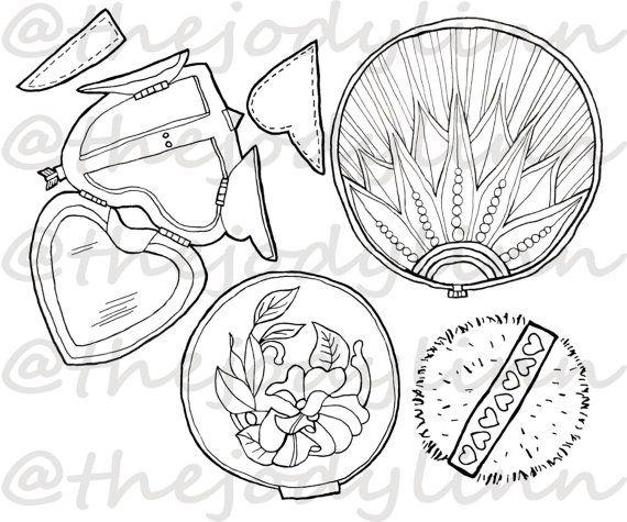 Museum Drawer: Powder Compacts 1. Instant Download Digital Stamp Bundle. Line Art Illustration for Cards and Crafts